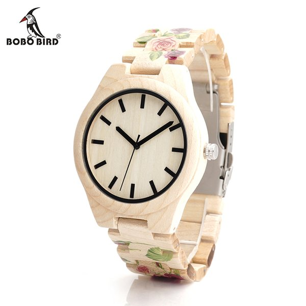 watch designer brands BOBO BIRD V-L26 UV Tech Rose Flower Print Maple Wood Wristwatch Mens Brand Designer Quartz Watch with wooden Strap