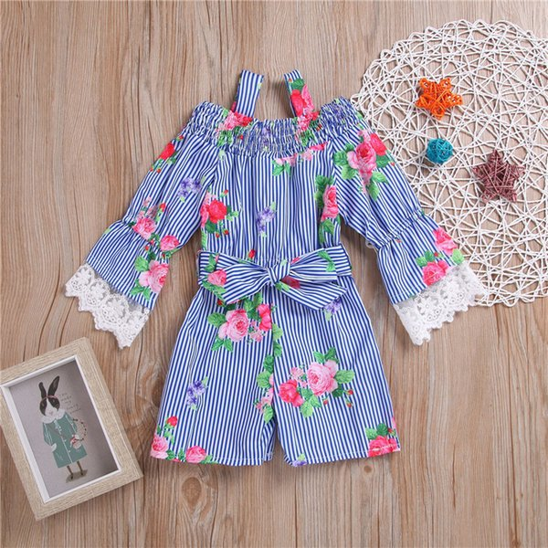 Newest Flower Kids baby girl clothes Long Sleeve Striped Lace romper sweet party jumpsuit kids designer clothes girls JY284