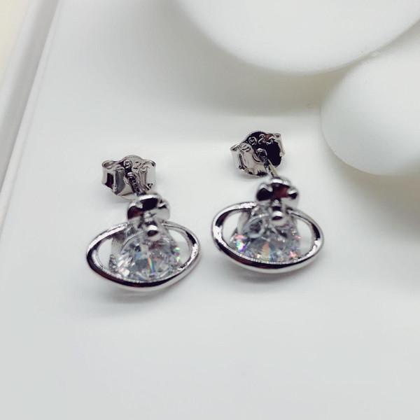 Pendientes de plata de ley 925 de imitación para las mujeres Joyería de plata chapada en cobre Pendiente de diamante de imitación de moda de lujo CZ Circonitas Pendientes