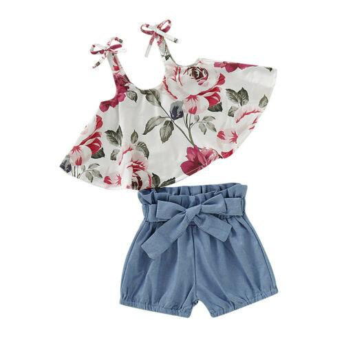 Emmababy Hot Adorable Newborn Infant Kids Baby Girl Floral Tops Dress Shorts Pants Clothes Outfits Cute Sunsuit