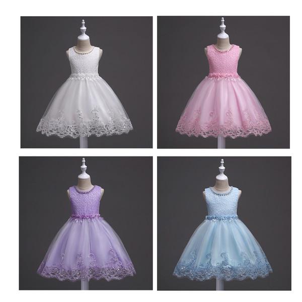 Baby Beaded Princess vestidos Vestidos de niña de diseño Vestir Chaleco de niños Falda de malla Tutu blanco Vestido de niña de flores B11