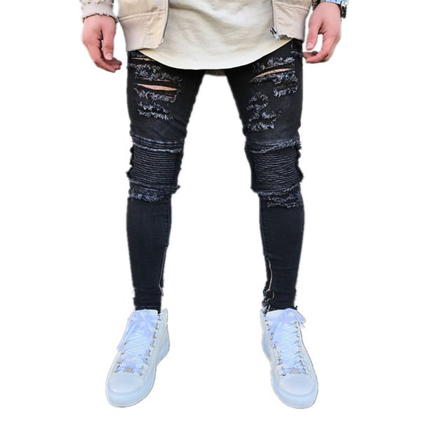 Fairy2019 High Fashion Foreign Street Heavy Self-cultivation Man Jeans Personality Knee Fold Holes Bound Feet Zipper Pants Trousers