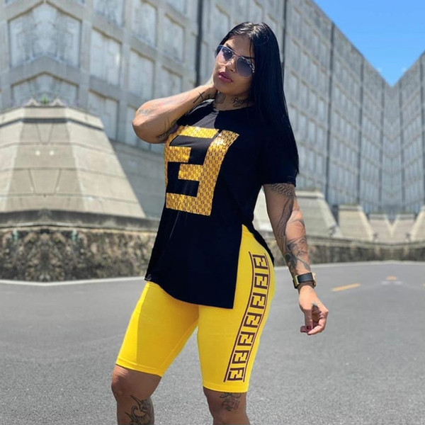 Летние женские 2 шт. Шорты комплект FF Спортивный костюм майка + шорты из двух частей наряды без рукавов Jogger Повседневная спортивная одежда TC01