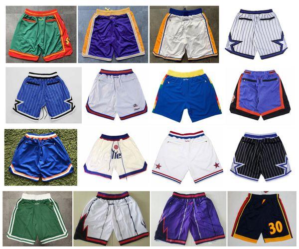 top popular Top Quality ! 2019 Basketball Shorts Team Don Pocket Shorts Sport Shorts Pants White Blue Red Purple Green Black 2020