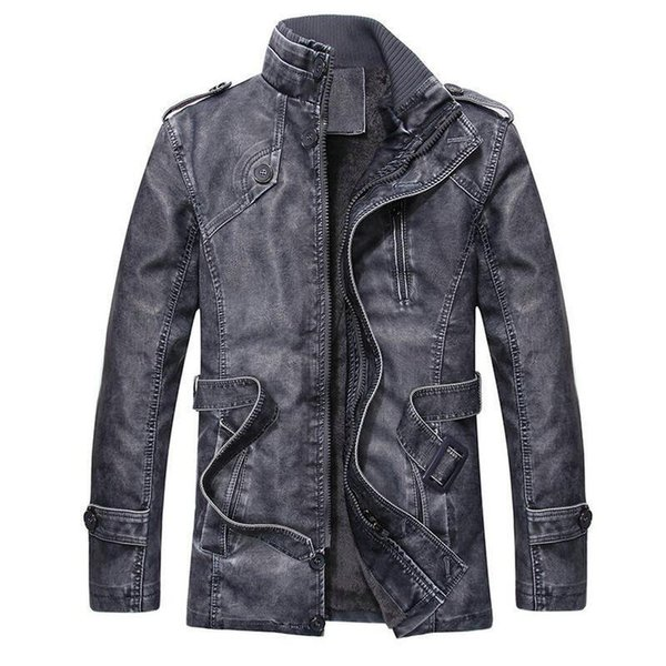 Nice Vintage Men Leather Jackets Autumn Winter New Casual Motorcycle Pu Leather Jacket Mens Long Thicken Faux Fur Coats