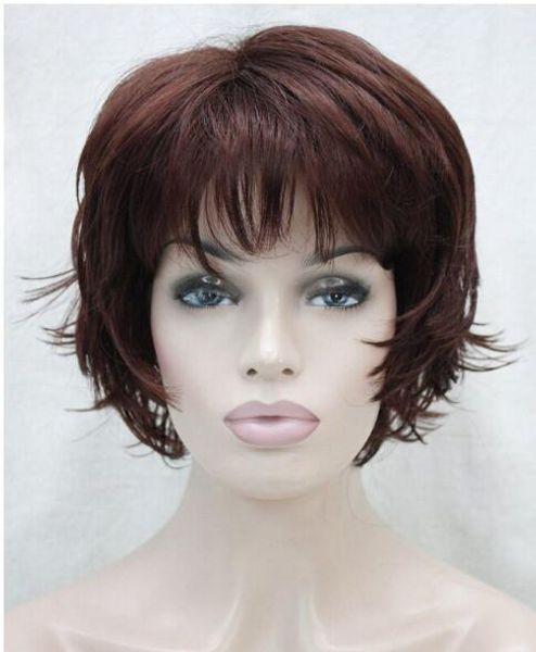 FREE SHIPPIN + + + Hivision Dark Burgundy Short Women ladies Daily Fluffy Full Wig