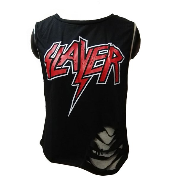 feitong Fashion Women Sleeveless t shirt lady Print Letter Holes Punk Style Stretch Letters Print Tshirt Plus Size T-shirt#y31