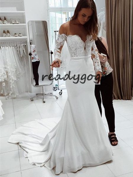 Long Sleeve Lace Stain Bridal Dresses with Long Sleeve 2019 Modest Sheer Jewel Neck Full length Trumpet Garden Wedding Gown