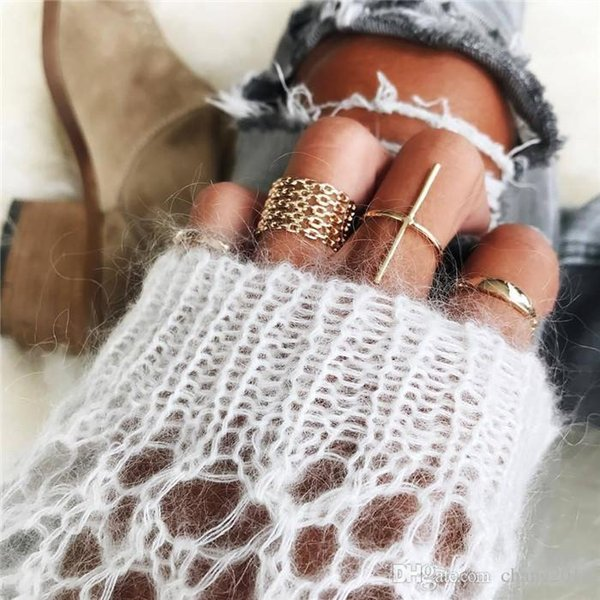 20 styles Bohemian Mermaid Tail Compass Yoga Water Drop Hollow Carved crystal Women Ring Set ALXX