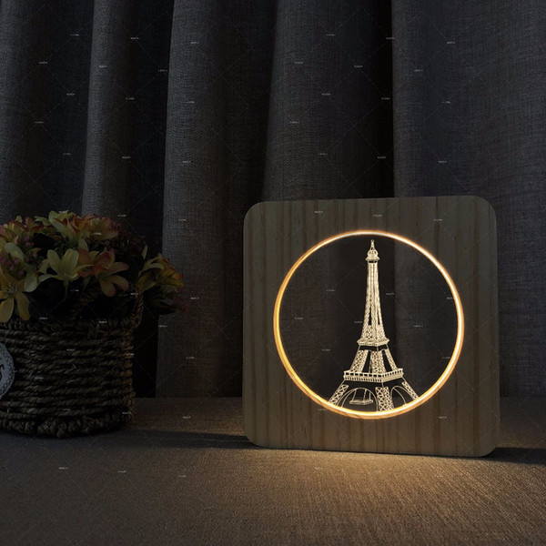Eiffel Tower Wooden Acrylic Table Light Warm White Reading Light Home Decor Necessary Students' Bedroom Kids Birthday Christmas Xmas Gift
