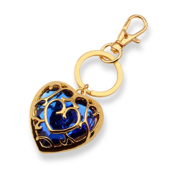 European and American Style Movie Zelda Legend Love Heart Shape Hollow Crystal Gem keychain Blue And Red Gold Pandent For Lucky Gift HYS03