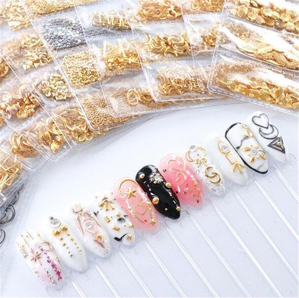 best selling New Salon Mixed 3D DIY Hollow Metal Frame Nail Art Decorations Gold Rivet Manicure Accessories DIY Shell Slider Nail Studs