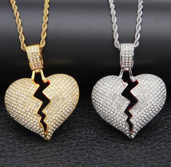 Coração partido Iced out Pingente de Colar Bling Bling strass Cristal do amor do Amor de prata de Ouro Torcido cadeia Para mulheres Hip hop Jóias