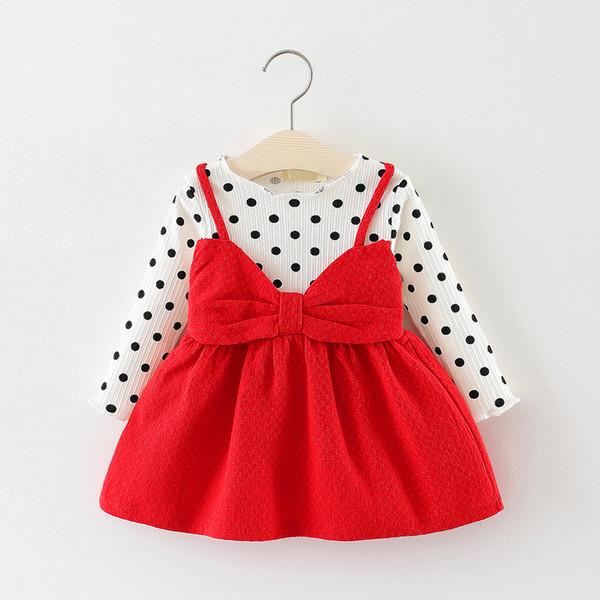 Girl's Dresses Autumn new children's skirt long-sleeved polka dot dress female baby big bow princess dress