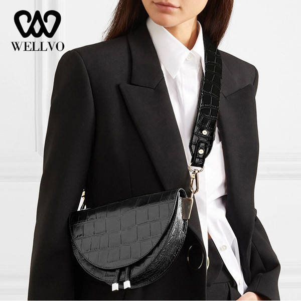 Women Crossbody Bag Fashion Alligator Pattern Saddle Bags PU Leather Shoulder Chest Pack Handbag For female Messenger Bag XA1B