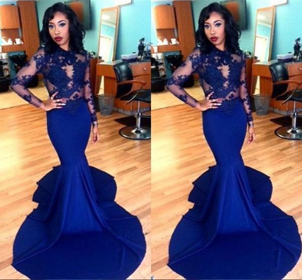Amandabridal Elegant Royal Blue African Prom Dresses 2019 Long Sleeve Applique Sweep Train Stretch Satin Zipper Back Evening Gowns Plus Size