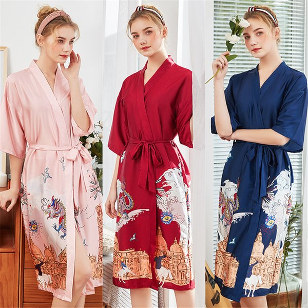 New silk nightgown lady bridesmaid's satin lace red bride's chemise robe morning gown home Nightgown in spring and summer