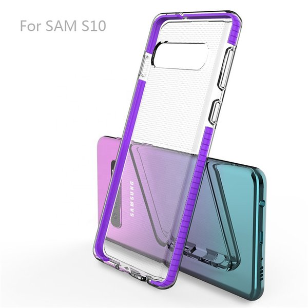 Clear TPU+TPE Hybrid Bumper Cell Phone Cases For Iphone XS Samsung Galaxy A10 A50 A70 S10 Plus Huawei P30 Pro Dual Color Covers