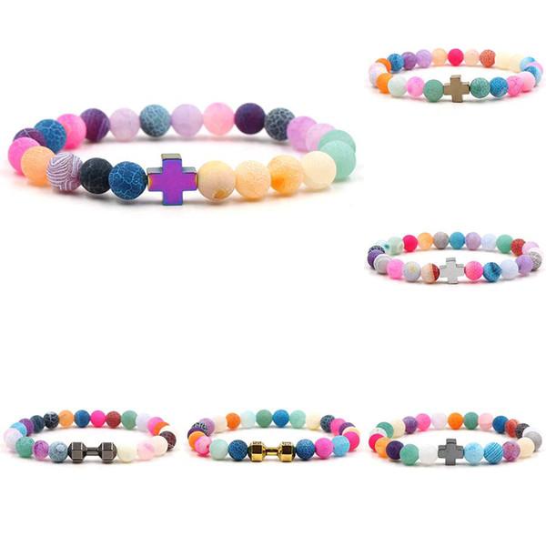 New Rainbow Weathered Achat Perlen Armbänder mit Kreuz Hantel Charme Naturstein Perlen Wrap elastische Armreif für Frauen Männer DIY Schmuck