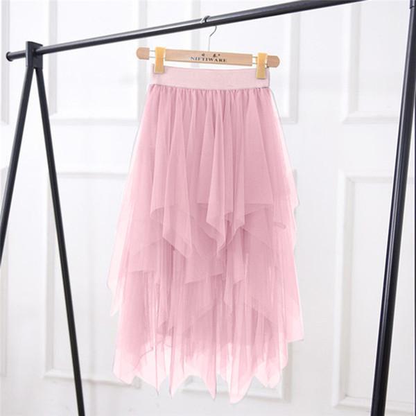 Nouveau Mode Femmes Filles Printemps Été Haute Taille Élastique Mesh Tutu Jupe Irrégulière Jupe Longue Solide Élégant Doux # 4R21