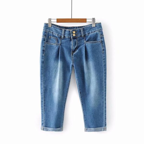 Plus size summer women fashion slim water wash hem rolled-up casual jeans female trendy calf length pencil style denim bottom