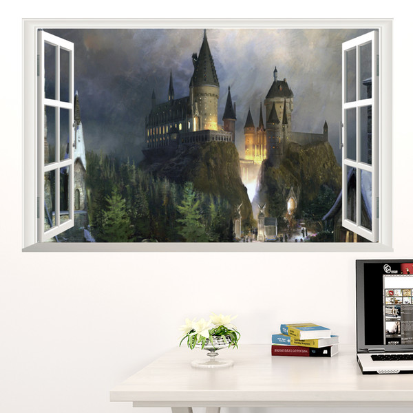 Generic 3D Windows Harry Potter Hogwarts Magic School Castle Living Room Kids Bedroom Decorative Wall Decal Decor Sticker