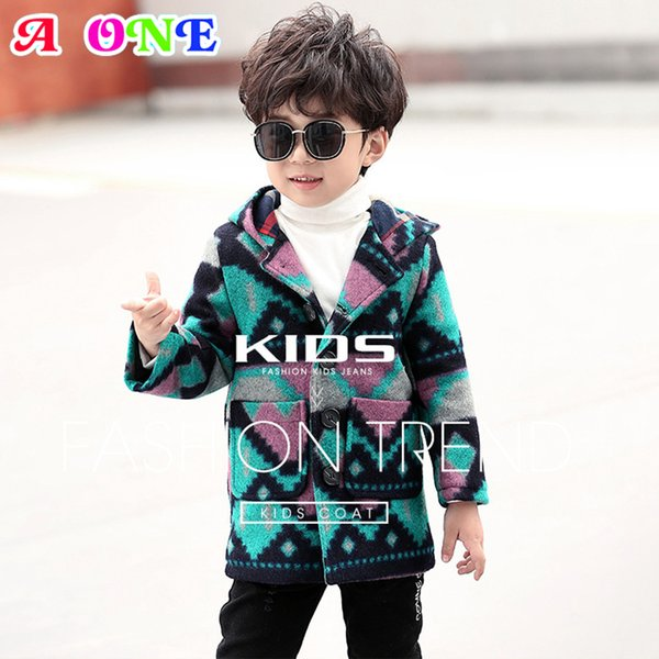 garçon Woollen mélange 2019 mode d'hiver bleu vert longue section épaissie bébé manteau occasionnels enfants Handsome manteaux 100-140 cm Z75