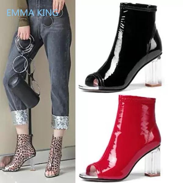 Neue Mode Lackleder Klar Chunky Heel Stiefel Frauen Peep Toe Sexy High Heels Damen Runway Schuhe Frau Sommer Stiefeletten