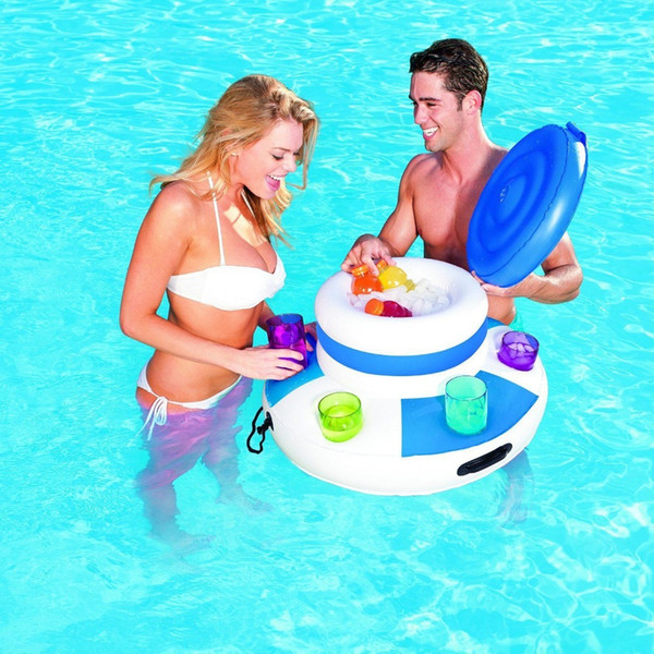 Inflatable Ice Bucket Pool Floats Adults Plastic Ice Cubes Drink Cooler Holder Swimming Accessories Pool Toys Boia Piscina