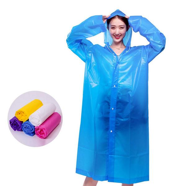 Women Raincoat Fashion EVA Thickened Waterproof Rain Coat Women Clear Transparent Travel Camping Waterproof Rainwear Suit