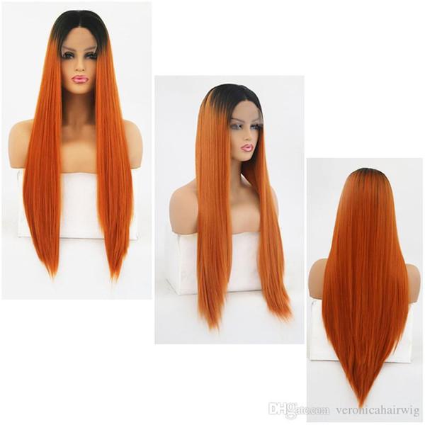 Fashion Ombre Orange Longue perruque droite sans colle Perruques résistantes à la chaleur Perruque synthétique avec une densité de 180% avant de lacet synthétique avec des racines noires
