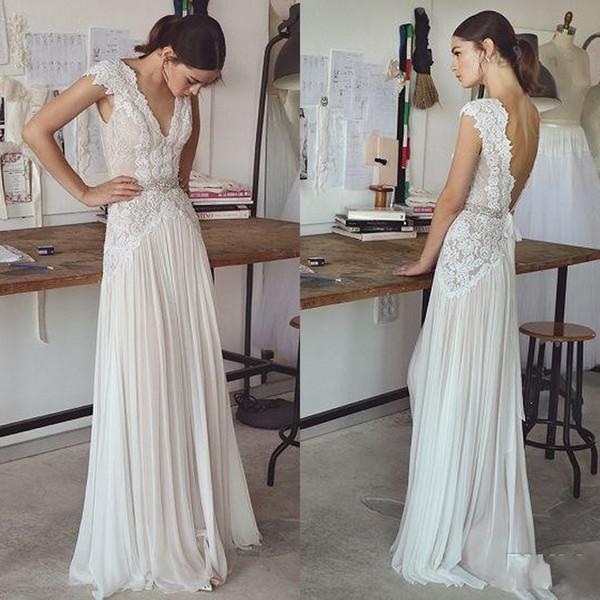 Дешевые Boho Beach Свадебные платья 2019 сексуальные с V-образным вырезом с длинными рукавами плиссированные юбки со спиной элегантные оболочки богемные свадебные платья BA6464