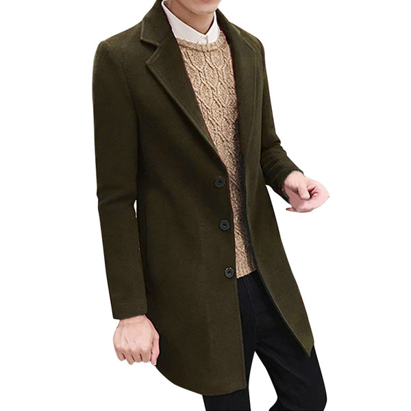 Hot High Quality Fashion Design Men Formal Single Breasted Figuring Overcoat Long Wool Jacket Outwear Plus Winter Coats Men New