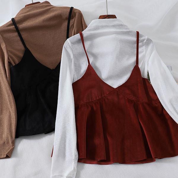 Conjunto de dos piezas de 2018 nuevas mujeres de moda retro cuello alto camiseta + chaleco de terciopelo dorado camiseta de dos piezas mujeres