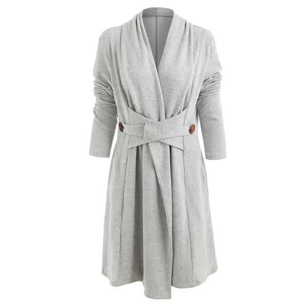 Abrigo casual de cachemira sólido con botón abierto frontal regular de moda  Mujeres Duster chaqueta larga d08453fdfa8c