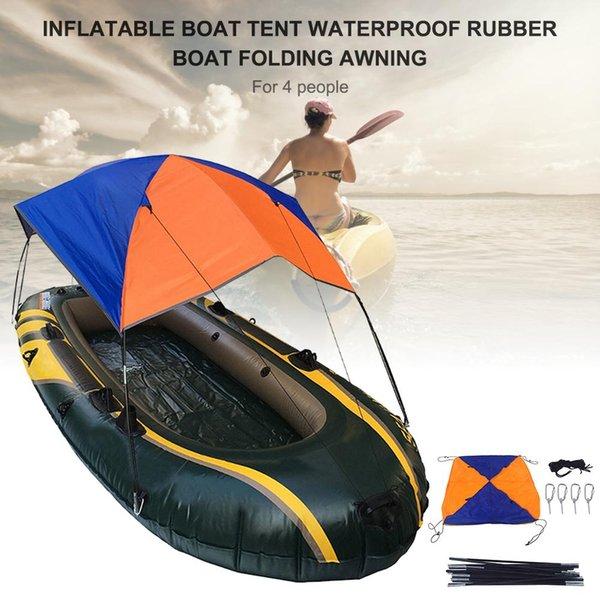 297 * 127 * 48 cm Schlauchboot Zelt Wasserdichte Gummi Boot Falten Markise Sonnenschutz Regen Für 4 Personen Kajak Zubehör