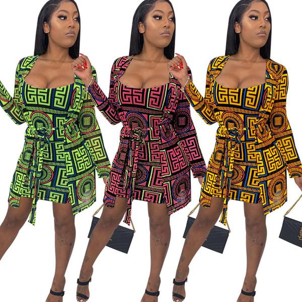 Femmes 2 Piece Dress set Vintage Survêtements Survêtements Cape Robe Moulante À Manches Longues Costumes Night Out vêtements pour dames