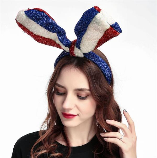 Mavi, beyaz ve Kırmızı ABD Bayrağı Uzun Tavşan Kulak büyük yay ilmek Parlak Bağımsızlık Günü Parti için Ipek Kumaş Bantlar Saç çember Favor 4754