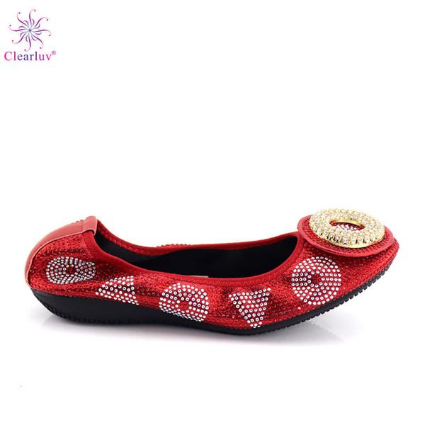2019 Yeni stil Nijeryalı Afrika bayanlar moda düz dipli bayan ayakkabıları kırmızı renk dans ayakkabıları rahat yumuşak dipli