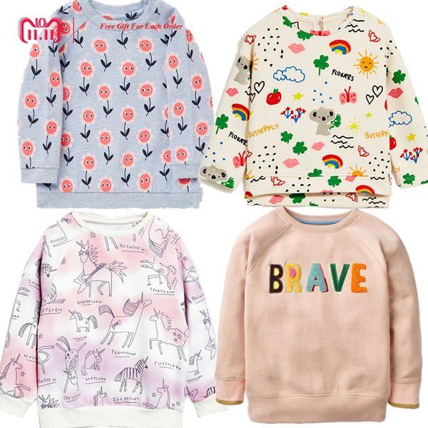 2018 Brand New Moda Bonito Manga Longa Outono Inverno camiseta Para Meninas Com Flor Dos Desenhos Animados Fino de Veludo Camisola tshirt roupas