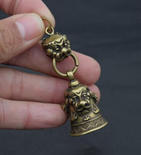 Китай чистая латунь резьба голова льва небольшой колокол кулон