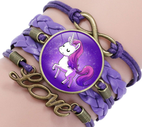 Unicorn At Bilezikler Hayvan Kalp Infinity Aşk Kubbe Cabochon Charm Deri Takı Kadınlar Erkekler Kız Erkek Unisex Hediyesi İçin