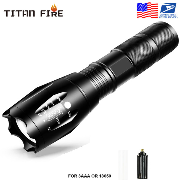 top popular US Stock,G700 E17 CREE XML T6 2000Lumens High Power LED Torches Zoomable Tactical LED Flashlights torch light for 1x18650 battery 2021