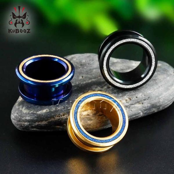 KUBOOZ Earrings Body Piercing Jewelry Expanders Ear Plugs Tunnels Set Screw Stainless Steel Jewelry Studs Gauges Fashion Gift
