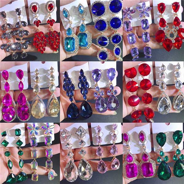 best selling Colorful Rhinestone drop earrings Long bohemian Europe United States retro glass drill temperament Wedding Jewelry For Women Gift