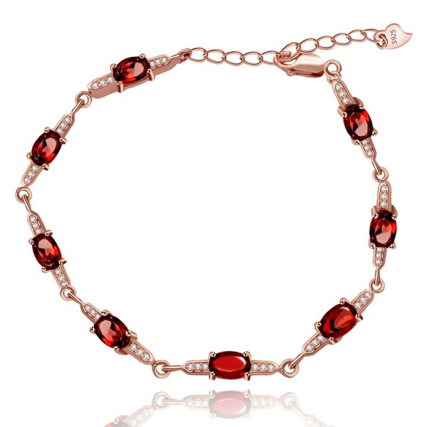 Bracciale a catena in argento sterling con ciondoli in oro rosa Almei in argento sterling con 8 pietre