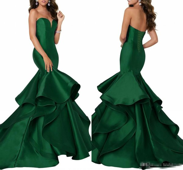 Dark Green Satin Mermaid Evening Dresses With Tiered Skirts Sweetheart Neck Formal Party Gowns Corset Lace Up Back Celebrity Dress Pageant