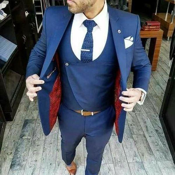 Traje de novio azul marino trajes de diseño de moda 3 piezas (chaqueta + chaleco + pantalones) trajes de hombre de alta calidad por encargo chal de solapa chal