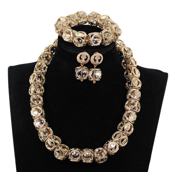 Großhandel Neues Design Würfel Form Gold Perlen Halskette Set Nigerianischen Braut Hochzeit Schmuck Set Afrikanische Gold Silber Perlen Schmuck Groß
