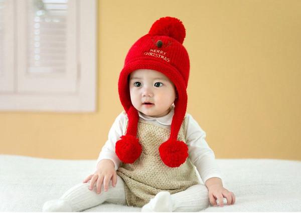 2019 Weihnachten Qualitäts-Baby-nette Wolle Earmuff Deer Hut-Winter für Jungen und Mädchen Plüsch Pullover Hut mit freiem Verschiffen